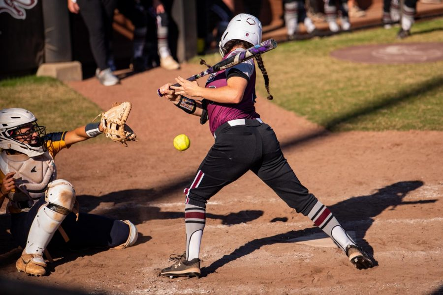 SIU Sophomore, Elizabeth Warwick, gets the Salukis on the board in the fourth inning by getting hit by the ball as the bases were loaded during the 3-2 win against Murray State that went in extra innings on Sunday, Sept. 26, 2021 at the Charlotte West Stadium in Carbondale, Illinois.