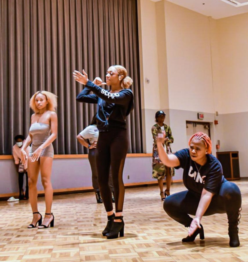 Students practice their dances for the Miss Eboness Pageant in the Student Center Oct. 3, 2021 at SIU in Carbondale Ill. The pageant is hosted by Alpha Phi Alpha at Shryock auditorium for Southern Illinois University's homecoming week which takes place Oct. 11-16, 2021 in Carbondale Ill.