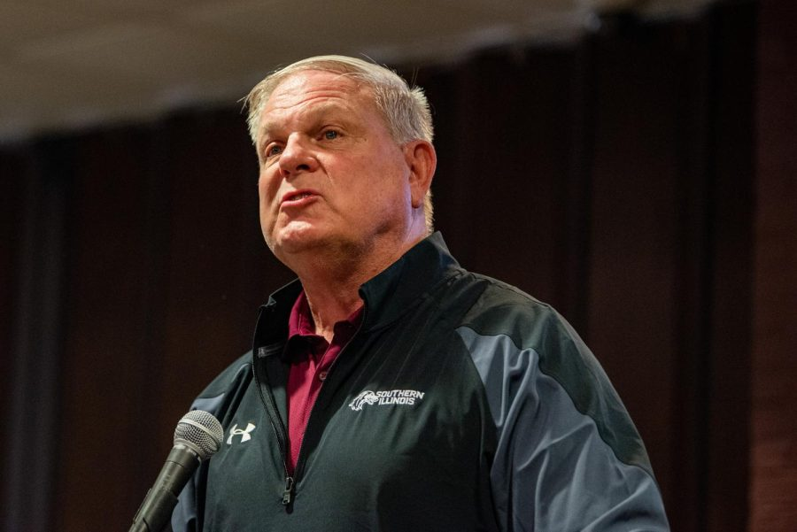Interim athletic director, Matt Kupec, speaks about last weeks football game, where the Salukis came back to beat South Dakota State 42-41 in overtime during the SIU Homecoming Pep Rally at the Student Center on Monday, Oct. 11, 2021 at SIU.