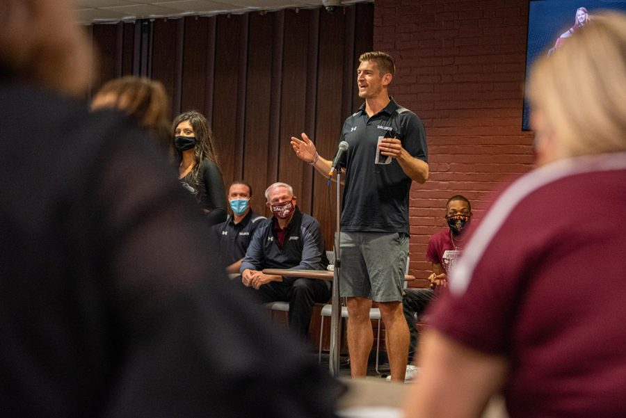 SIU football coach, Nick Hill, encourages the crowd to come pack the stadium for the upcoming Homecoming game during SIU Homecoming Pep Rally at the Student Center Monday, Oct. 11, 2021 at SIU.