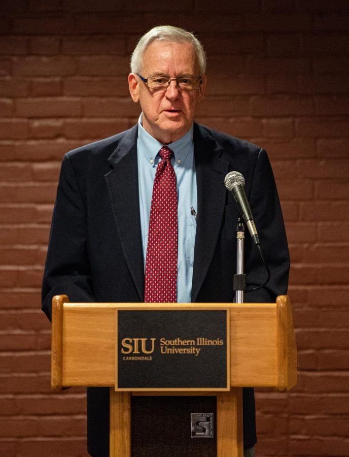 Carbondale mayor, John Henry, speaks during SIU Homecoming Pep Rally at the Student Center Monday, Oct. 11, 2021 at SIU.