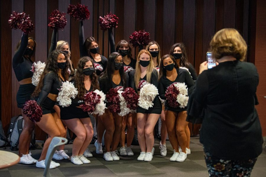 SIU Shakers pose for a photo before the SIU Homecoming Pep Rally at the Student Center on Monday, Oct. 11, 2021 at SIU.