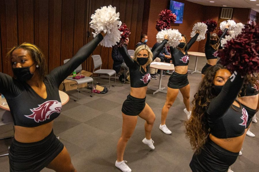 Salukis Shakers perform at the beginning of the SIU Homecoming Pep Rally at the Student Center on Monday, Oct. 11, 2021 at SIU.