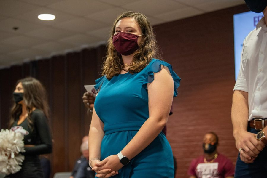 SIU Homecoming court member, Emily Buikema, awaits to be called on as apart of the SIU Homecoming Pep Rally at the Student Center Monday, Oct. 11, 2021 at SIU.