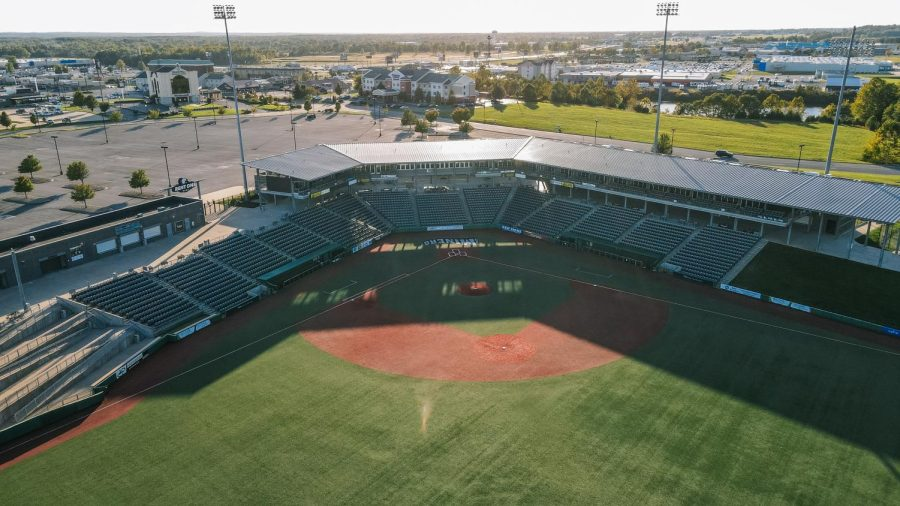 Rent One Park sits empty Oct. 17, 2021 in Marion, Ill. On Wednesday October 6, 2021, the owners of the Southern Illinois Miners, Jayne and John Simmons announced their retirement from professional baseball.