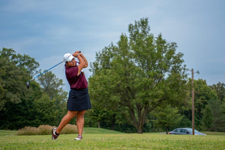 SIU golfer Moyea Russell takes some swings on Friday, Oct. 1, 2021 at Hickory Ridge Public Golf Course in Carbondale, Illinois. Russell, who was named MVC golfer of the week recipient in late September, after hitting three rounds of 74, 73, and 74 for a total score of 221 (+5) to tie for eight place overall.