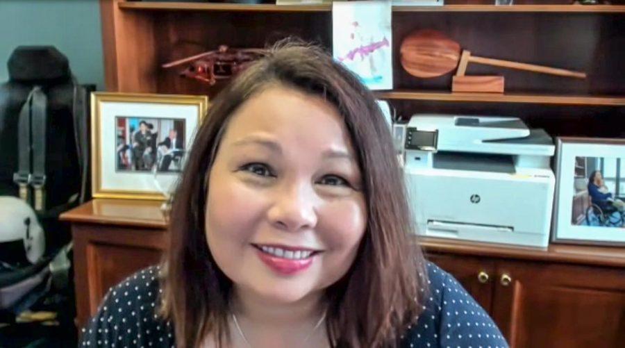 Tammy Duckworth, Illinois Senator, speaks to SIU students via Zoom Oct. 4, 2021. Living in Illinois made me the person I am today, Duckworth said.