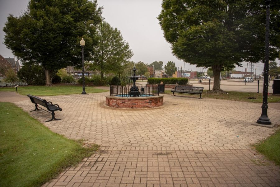 The City of Carbondale has recently installed an anti-loitering system in the town square that uses flashing lights and loud classical music to prevent individuals from loitering in the area Tuesday, Oct. 5, 2021 in Carbondale, Illinois.